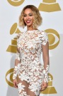 BEYONCE SHOWS OFF HER PERFECT FIGURE IN A SHEER WHITE DRESS AT THE 2014 GRAMMYAWARDS